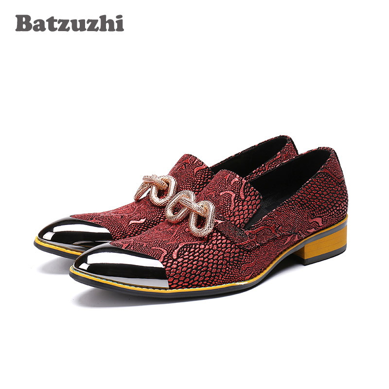 Batzuzhi Italian Style Fashion Mens Shoes Sapato Masculino Pointed Metal Tip Leather Shoes Men Wine Red Wedding Shoes Men PartyBatzuzhi Italian Style Fashion Mens Shoes Sapato Masculino Pointed Metal Tip Leather Shoes Men Wine Red Wedding Shoes Men Party