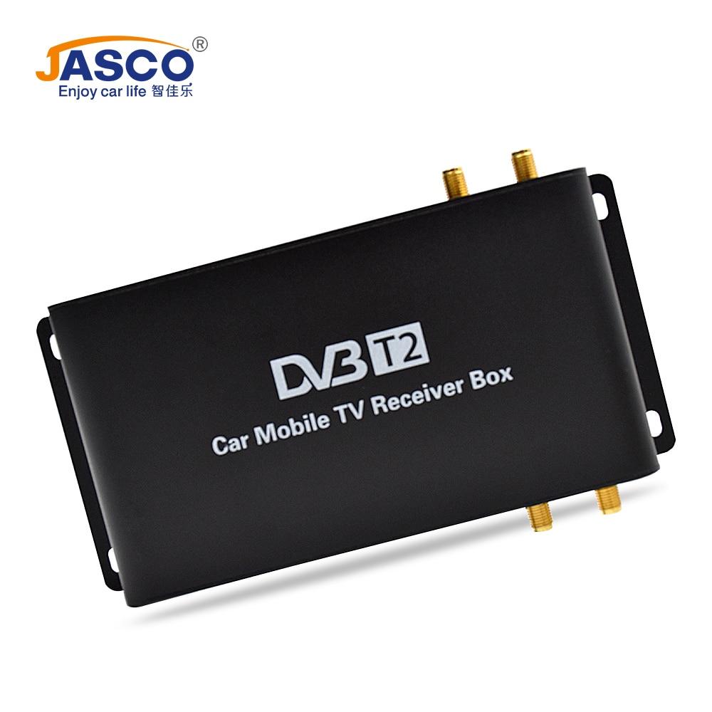 Jasco автомобильный DVB T2 DVB T MPEG4 ЦИФРОВОЙ ТВ приставка 4 антенны Поддержка 180 200 км/ч скорость вождения цифровой автомобильный тв тюнер 1080P ТВ приемник