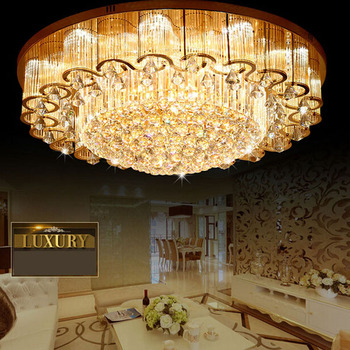De lujo moderno de lujo de cristal LED de lluvia Art Deco lámpara de techo S de lujo de oro brillo ronda E14 luz para Hall vestíbulo lámpara de habitación