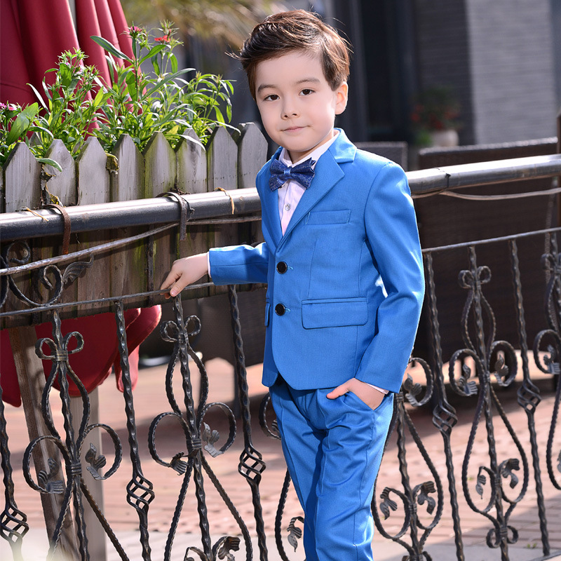 4PCS (Suit Pants Shirt Bow ) Big Boys Formal Suits for Wedding Costume Kids Blazer Set Lake Blue100-1704PCS (Suit Pants Shirt Bow ) Big Boys Formal Suits for Wedding Costume Kids Blazer Set Lake Blue100-170