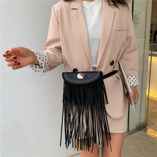 купить Fashion Design Waist Bag Tassel PU leather Fanny Pack Bananka Bag Wild For The Belt Women Satchel Catwalk Belly Band Belt Bag по цене 1001.72 рублей