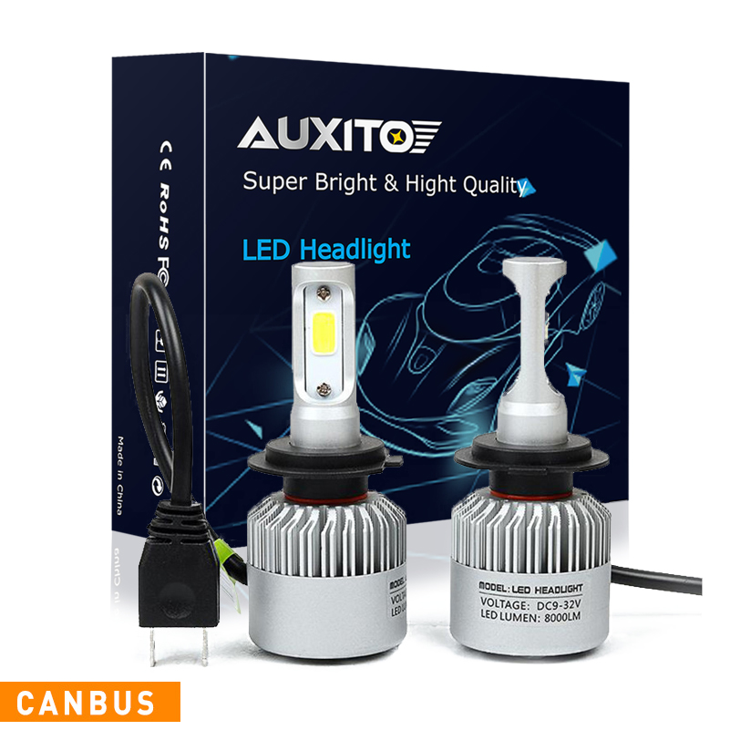 AUXITO H7 CANBUS COB Car Headlights For Volkswagen VW Tiguan 2009-2011 No Error LED Headlight Bulb Fog Light 16000LM 6000K