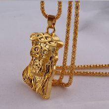 HIP HOP Gold Necklace The head of Jesus Christ Pendant Necklace Gold Chain Necklace(China)