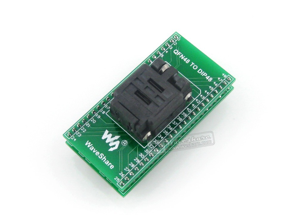 Waveshare QFN48 TO DIP48 IC Test Socket Programming Adapter 0.5mm Pitch for QFN48 MLF48 MLP48 Package free shipping sop32 wide body test seat ots 32 1 27 16 soic32 burn block programming block adapter