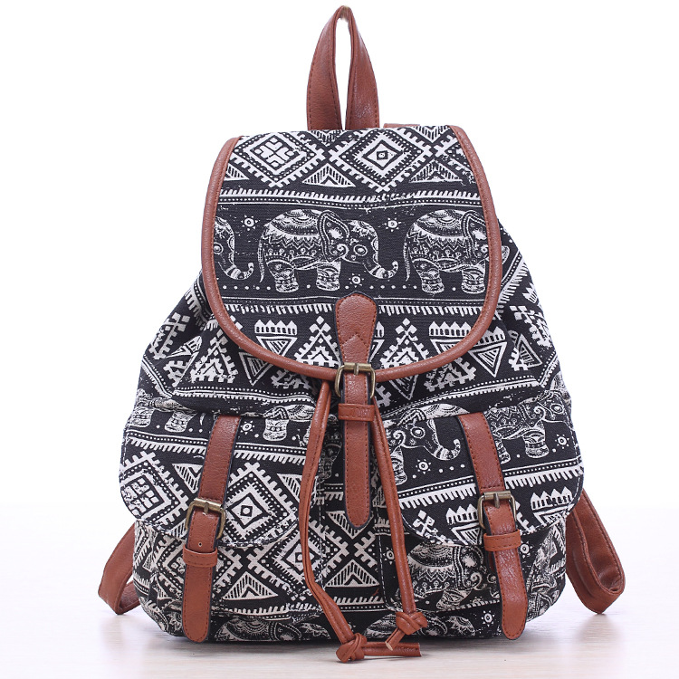 2017 New Arrival Women Vintage Animal and Flowers Printing Canvas Backpack  Female Personality Leisure Backpack Students Bags-in Backpacks from Luggage  ... 17db772656