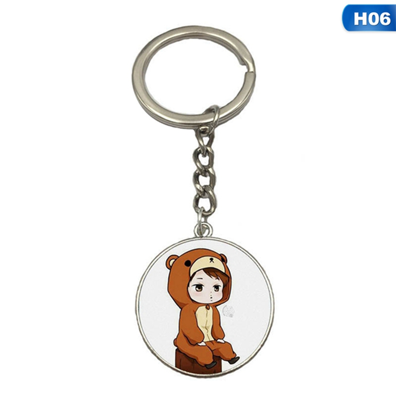 2019 New KPOP EXO Cute Keychain Cartoon Chanyeol Character Acrylic Key Ring Baekhyun Suho  Keychains Fans Gift