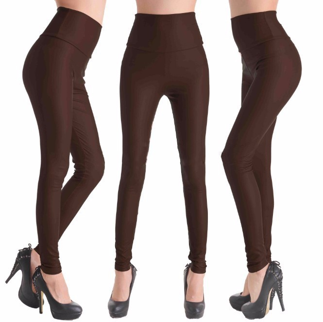2017 New Women Sexy Leggings Faux Leather Stretch Legging High Waist Leggings Juniors Pants 4 size 21 Colors 12
