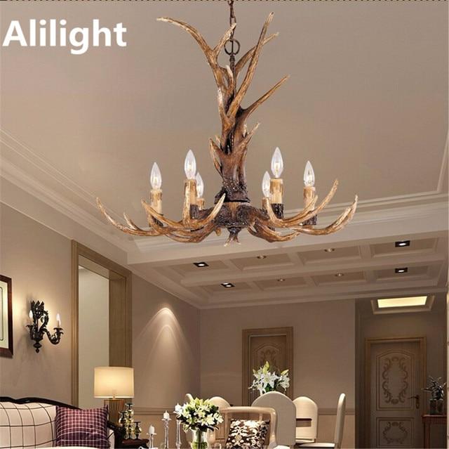 Vintage europe bougie lustres en bois de cerf art décor lumière rétro résine cerf corne lampes