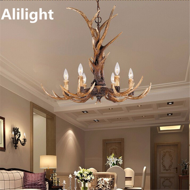 Vintage Europe Candle Antler Chandeliers Art Decor Light Retro Resin Deer  Horn Lamps For Cafe Bar