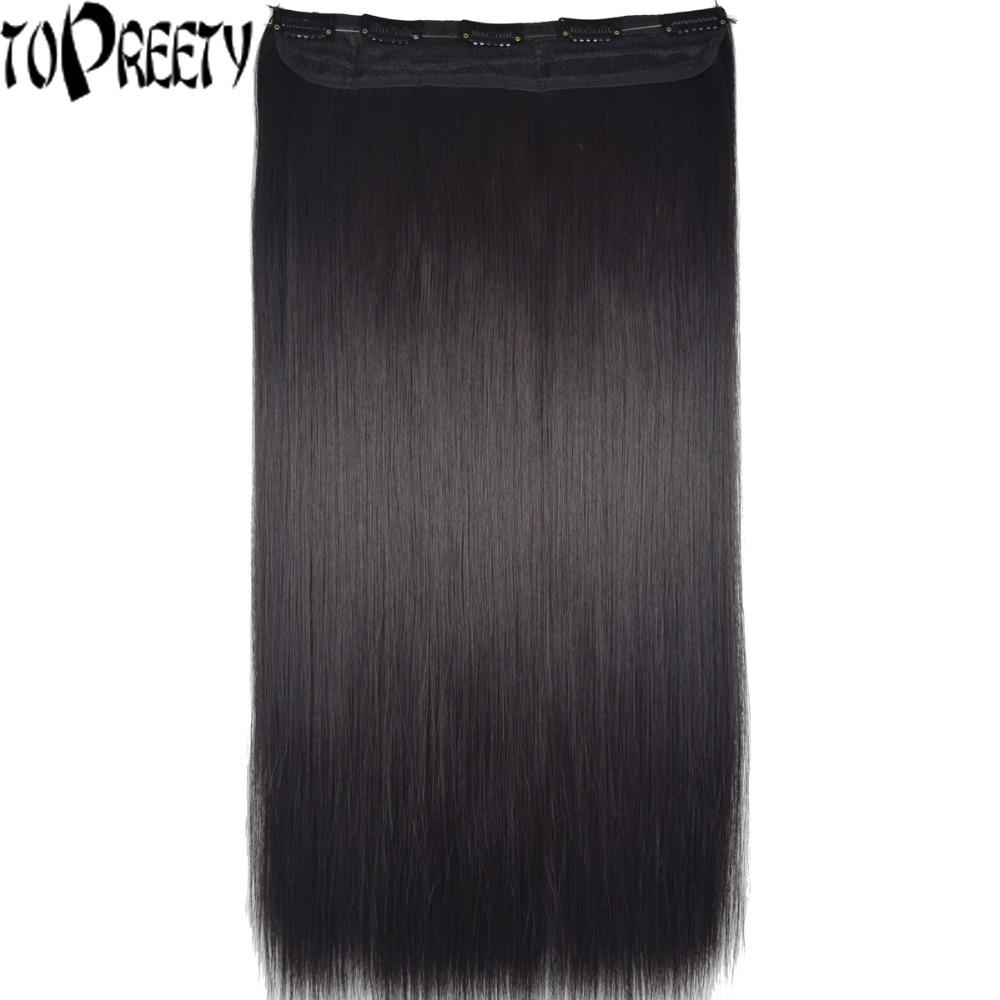 TOPREETY Heat Resistant B5 Synthetic Hair 28 70cm 130gr Straight 5 Clips on clip in Hair Extensions ...