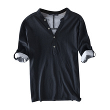 Mens T Shirt V-neck Half Sleeve Button Tee Tops Solid Casual Cotton Breathable Fashion Leisure T-shirt Men Camisetas 2019 S-3XL