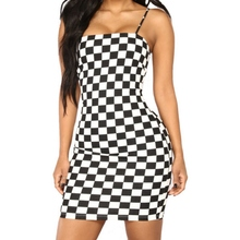 Summer Plaid Bodycon Dress Sexy Slim Spaghetti Strap Beach Women Fashion Casual Sleeveless Slash Neck Vestido
