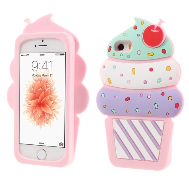 reputable site c6bb4 9b3aa US $4.99 |Dulcii Smartphone Case Cover for iPhone 5s 5 3D Cherry Ice Cream  Silicone Mobile Phone Case for iPhone SE 5s 5 Pink Coque Fundas-in Fitted  ...