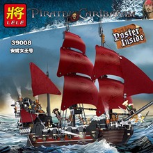 1222pcs Large Building Blocks Sets Queen Anne Pirate Ship Imperial Warships Kits Block Compatible Legoed Pirate Toys for Kids