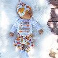Детей Благодарения Clohtes новорожденного Боди Baby Boy футболка 3 шт. Костюм Девушки Наряды Брюки Одежды Костюм