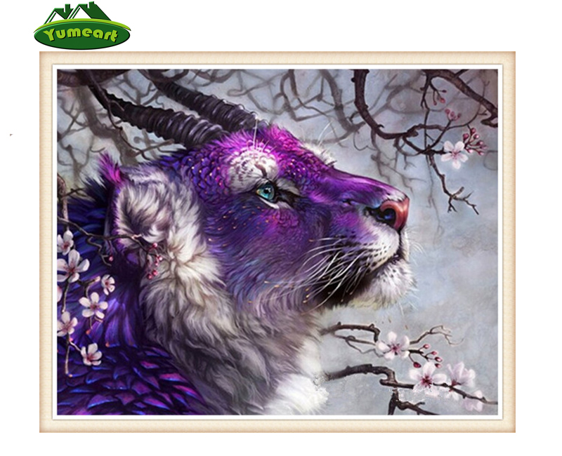 Handmade Diamond Embroidery Purple Animal Sheep 5D DIY Diamond Painting Cross Stitch Rhinestone Wall Stikcer Room Decoration