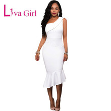 Liva Girl Women Ruffle Single One Shoulder Knee Length Dress Women's Mid-calf Sexy Celebrity Party Sleeveless Dresses vestidos