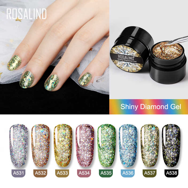 ROSALIND 5ml Shiny Diamond เจลเล็บ Polish Bright สำหรับ Glitter Nail Art Design Poly Top Base Primer สำหรับเล็บ Art