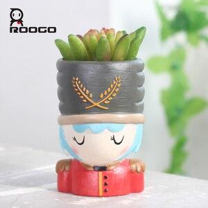 Image 2 - Горшочки для суккулентов ROOGO Щелкунчик в форме цветка, горшочки для суккулентов, Европейский ретро мультяшный персонаж, домашний декор, сад, гостиная, балкон