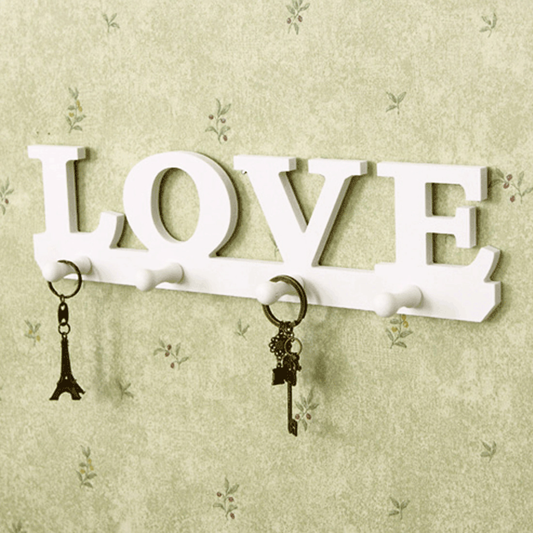 Home Decor Hanger Keychain Wall Hook White Love Clothes Hat Keychain Clothes Bag Robe Hanging Screws Ledges Door Bathroom Retro