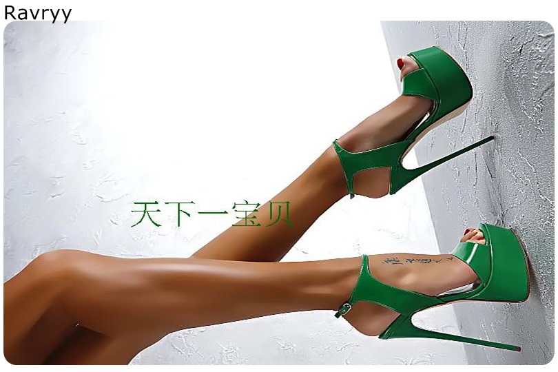 Green Woman <font><b>sandals</b></font> ankle buckle <font><b>Sexy</b></font> Pumps fashion ope toe 16cm <font><b>high</b></font> <font><b>heel</b></font> <font><b>platform</b></font> <font><b>heel</b></font> female party dress show single shoes image