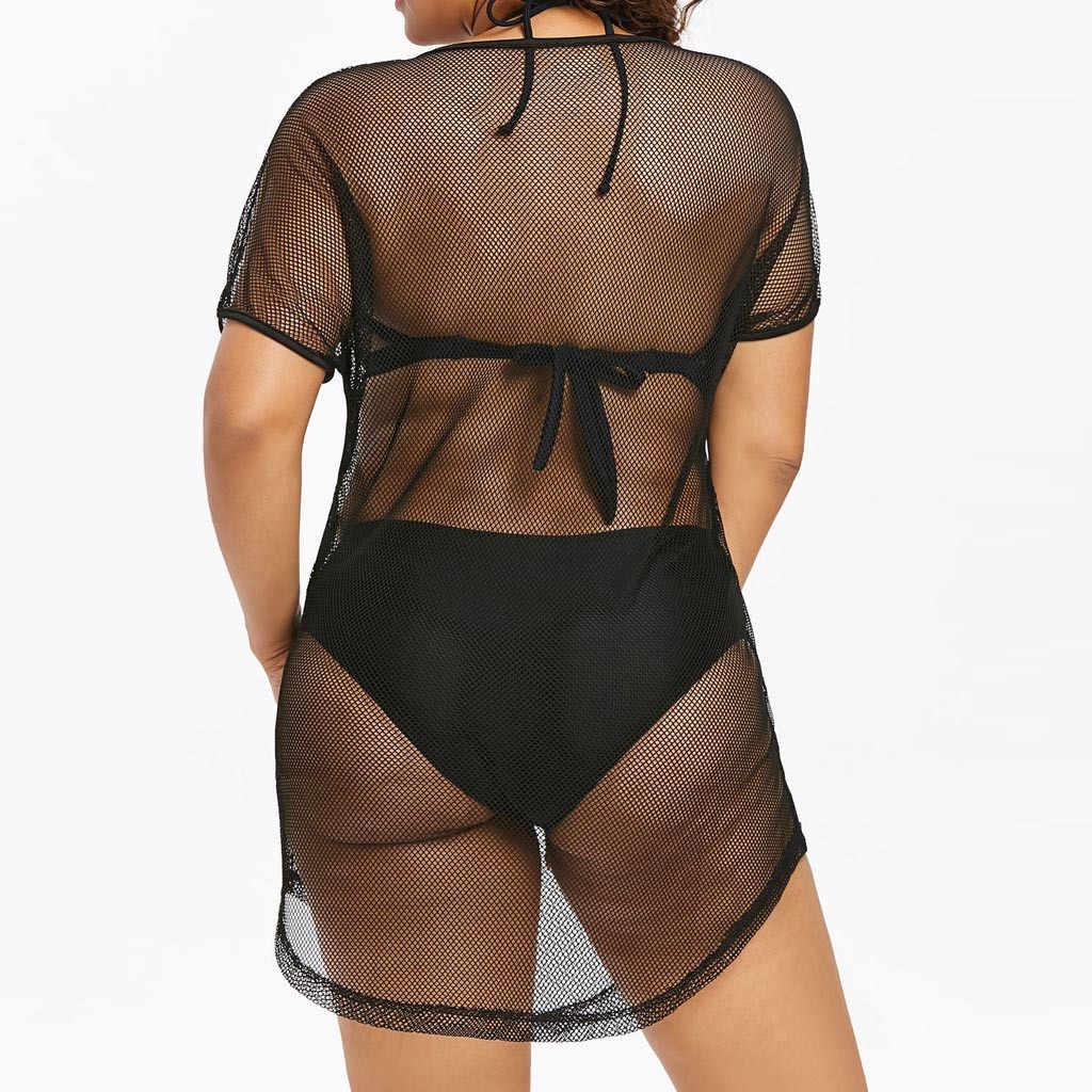 De coolste tribal Vrouwen Plus size O-hals Bikini Cover Up Badmode Baden Mesh Strand Jurk Vrouwelijke Zomer Badmode Tuniek 2019 t1