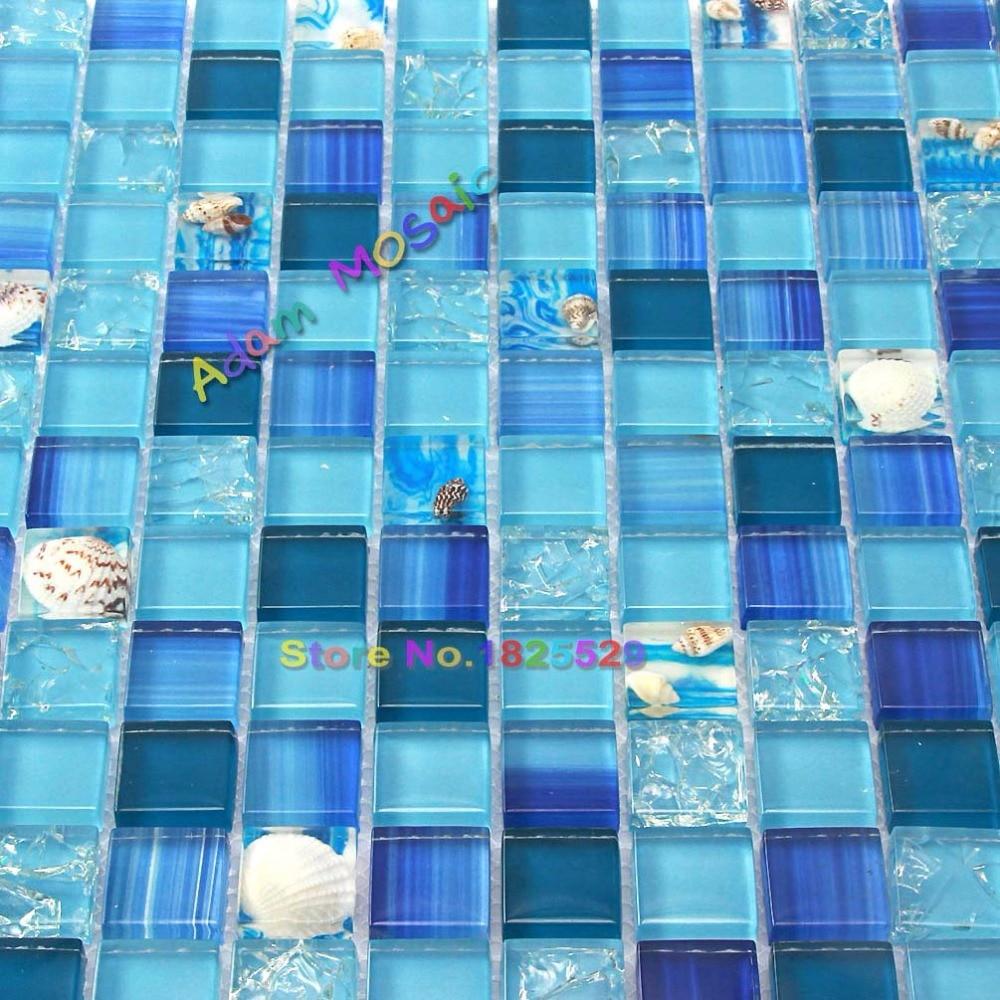 Ocean Blue Mosaic Tile Bathroom Wall Tiles Kitchen Backsplash Glass ...