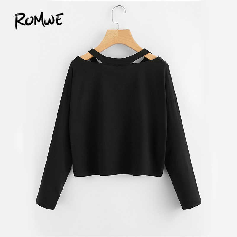 23a9d094a ... ROMWE Cut Out Neck Sexy T-shirt Rose Patch Black Tee 2019 Women V Neck  ...
