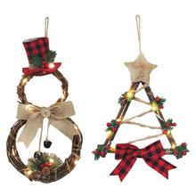 Christmas Wreath Decorations Xmas LED Wooden Pendant Light Hanging Ornaments for Cute Wood House Tree