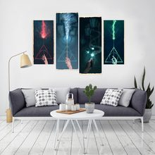 4 panel Abstract Colourful Spark Large HD Picture Modern Home Wall Decor Canvas Print Oil Painting(China)