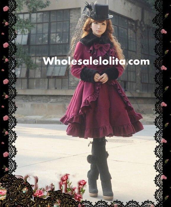 Британский стиль с длинными рукавами Черный шерстяной классический Лолита пальто