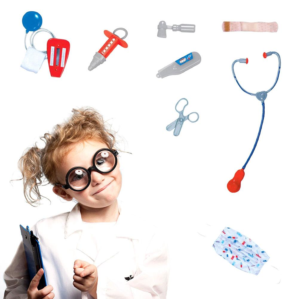 Kids Doctor Role Play Costume Dress Up Set with Lab Coat, Face Mask, Stethoscope, and 6 Additional Medical Tools
