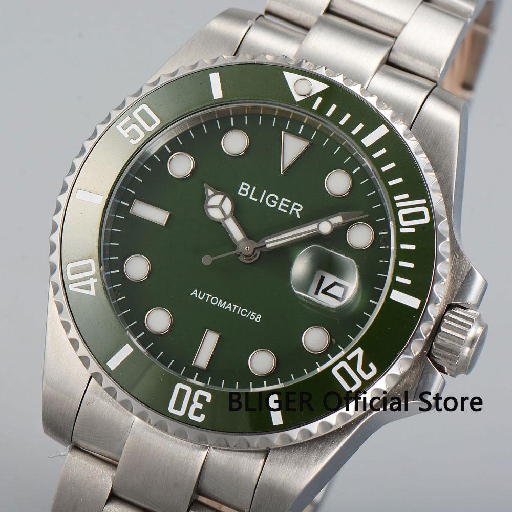 43MM BLIGER Green Dial Sapphire Crystal mannen Polshorloge Luxe Luminous Marks Miyota Automatisch Uurwerk Horloge b28-in Mechanische Horloges van Horloges op  Groep 1