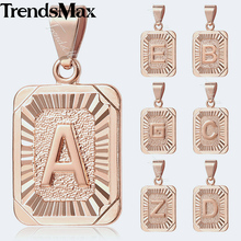 Trendsmax A-Z 26 Capital Letter Alphabet Rose Gold Filled Rectangle Charm Pendants Women Men Girls Fashion Jewelry KGPM12