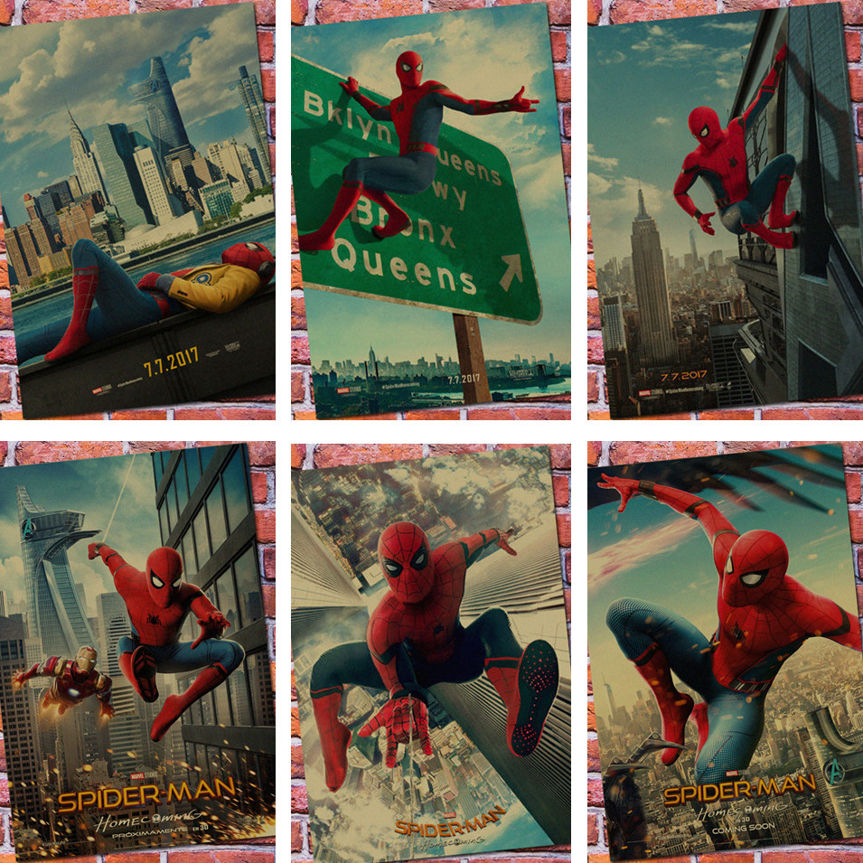 New Vintage Spiderman Homecoming Superhero Movie Poster Bar Kids Room Home Decor Spider-man Retro Kraft Paper Wall Sticker Decal ...