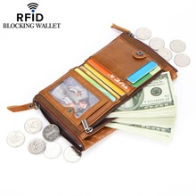 Mens wallet leather short coin purse oil wax double zipper RFID card holder