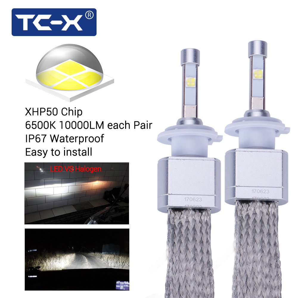 TC-X Super Bright 8000LM Car LED Headlights  H7 H11 9005 HB3 9006 HB4 forLens Replacement with Quick Heat Sink алмазная пила кратон tc 11
