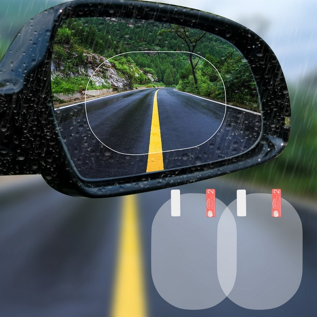 2PCS/Set Anti Fog Car Mirror Window Clear Film Anti-glare Car Rearview Mirror Protective Film Waterproof Rainproof Car Sticker 1