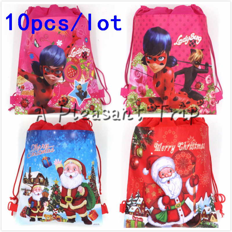 10PCS Kids Favors Baby  ShowerMiraculous Ladybug Non-Woven Fabric Backpack  Drawstring Bags Birthday Party  Decoration Supplies10PCS Kids Favors Baby  ShowerMiraculous Ladybug Non-Woven Fabric Backpack  Drawstring Bags Birthday Party  Decoration Supplies