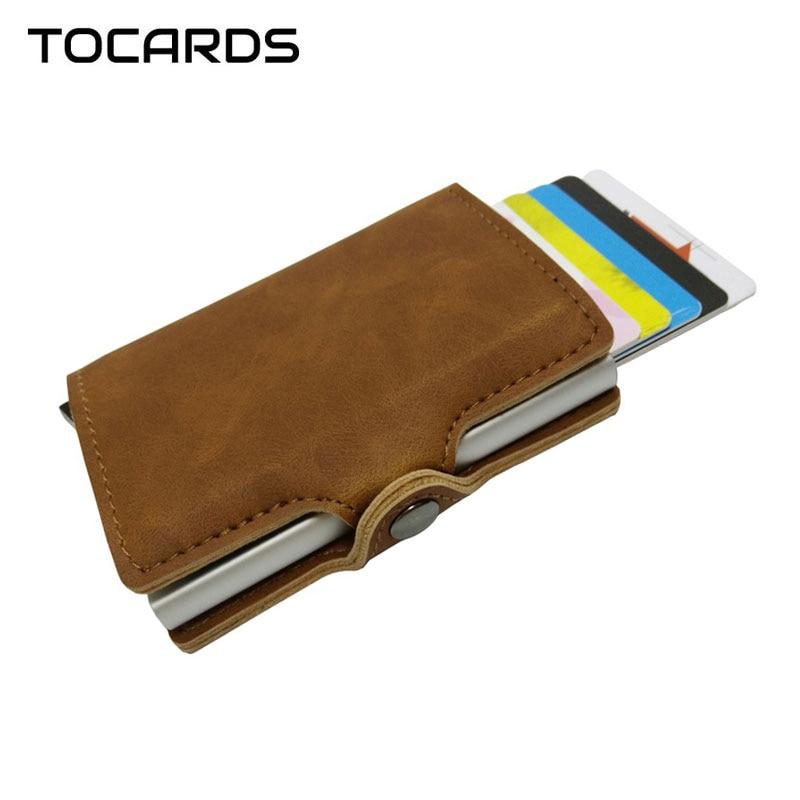 2019 Hot RFID Blocking Vintage Leather Credit Card Holder Men Aluminum Alloy Metal Business ID Cardholder Wallet Male Card Case