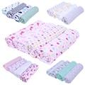 4pcs Baby Blanket Cotton Baby Swaddles Cartoon Animals Pattern Baby Gauze Blanket Colorful Newborn Baby Bedsheet 120cm X 120cm
