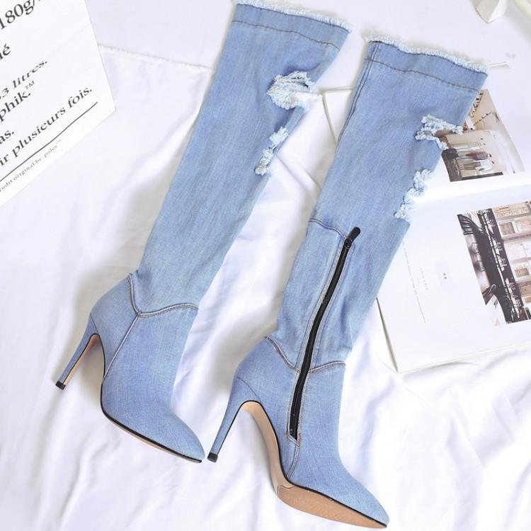Show Puntiaguda Show De Lado Moda La Sobre Rodilla Señoras As Invierno Zapatos Negro Botines Botas Chic Zip Costura Punta Mujeres Hueco Retro as Azul Denim f4q4BpO