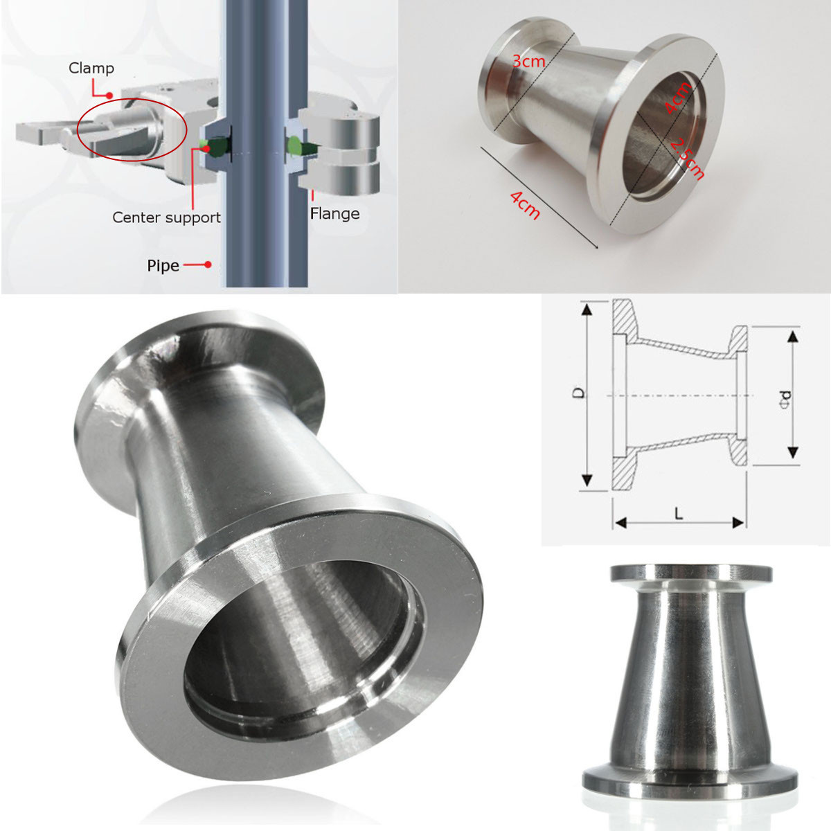 KF25 (NW25) To KF16 (NW16) Conical Reducer Union SS304 Vacuum Adapter Stainless Steel Cap Reducer