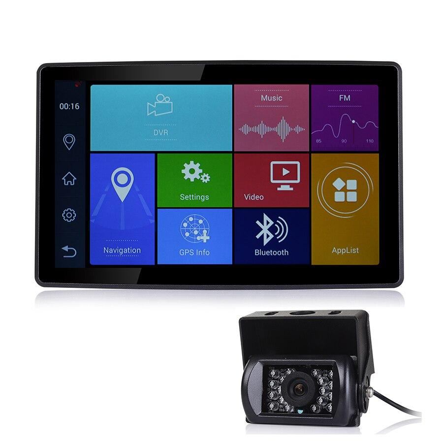 Udricare 9 pollice car Truck Bus GPS del Android WiFi Bluetooth Del Telefono ADAS DVR Navigazione GPS HD 1080 p Dual lens videocamera vista posteriore DVR