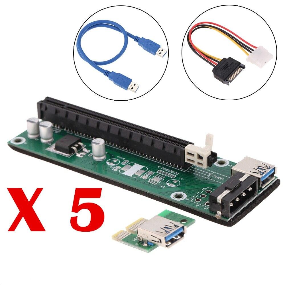 5 Stücke Für Bitcoin Mining Pci-e Riser Pci Express 1x Zu 16x Extender Board Karte Usb 3.0 Adapter Mit Sata Power Kabel & Usb Kabel