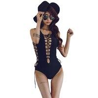 Women Sexy One Piece Swim Suit 2017 Ladies Strappy Bandage Monokini Swimsuit Slimming Bodysuit Push Up