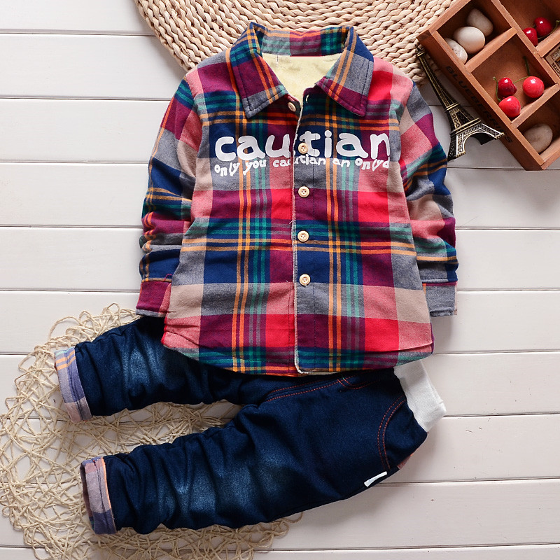 2017 New Toddler Children`s Clothing Thicken Sets Velvet Plaid Shirt+Jeans Winter Baby Boys Warm Cotton Clothes Suits For Kids