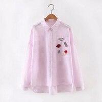 New Fashion Women Cute Lip Popcorn Loose Striped Blouse Cotton Oversized Drinks Patch Shirt Long Sleeve