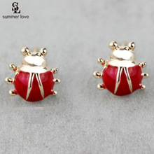 Cute Red Oil Miraculous Ladybug Stud Earrings Animal Earrings Enamel For Children Girls boucle d'oreille earings