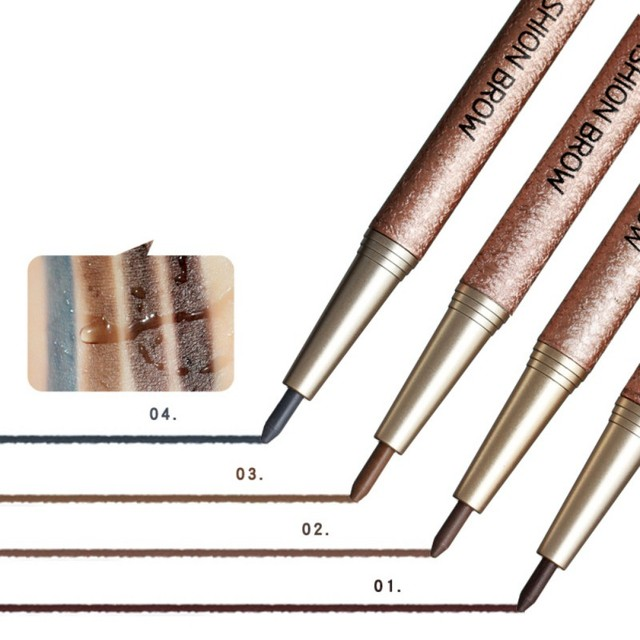 1 Set Professional Makeup Waterproof Eye Brow Kit with Refill Easy to Wear Pigment Brown Gray Eyebrow Pencils with Stencils 4